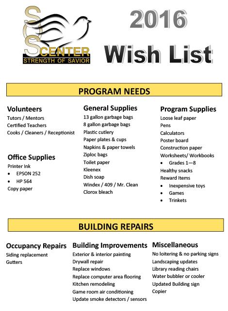 2016 Wish List